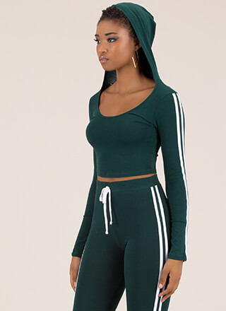 Gotta Run Striped Hooded Crop Top