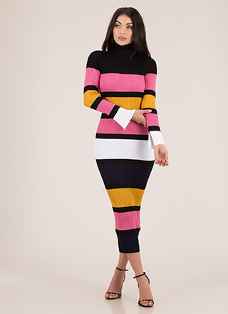 Striped Statement Turtleneck Maxi