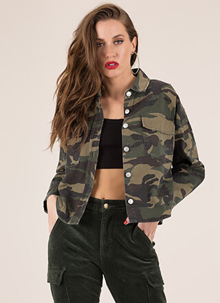 Cooler In Camo Button-Up Jean Jacket