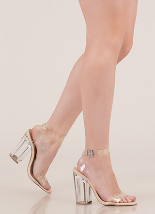 Crystal Clear Chunky Lucite Heels