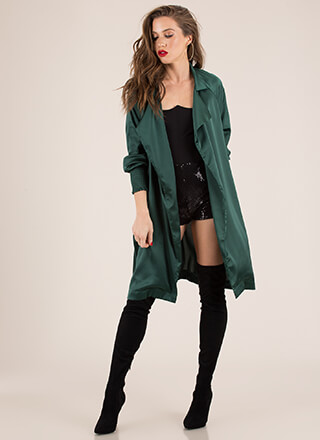 Pardon My Trench Tied Satin Duster