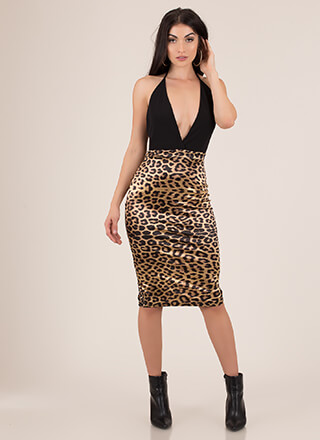 In Two The Wild Leopard Halter Dress