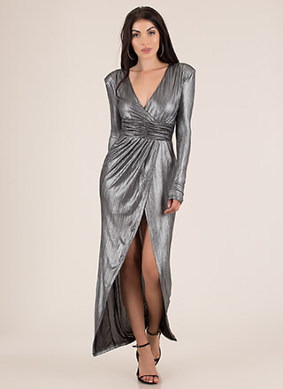 Woman Warrior Metallic High-Low Maxi