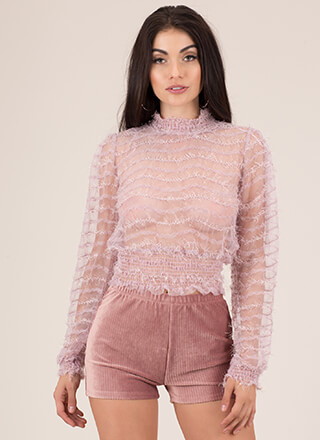 Sheer Beauty Fringed Striped Lace Top