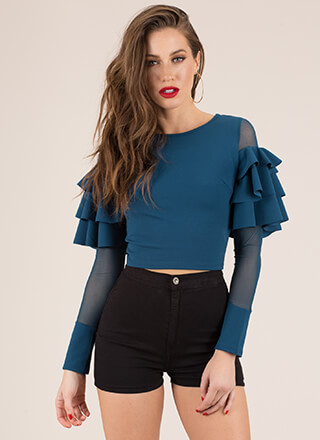 Have Fun Ruffled Mesh Sleeve Crop Top