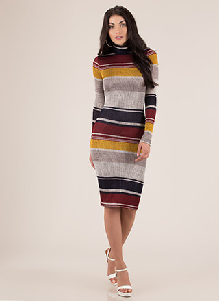 New Lineup Striped Mockneck Midi Dress