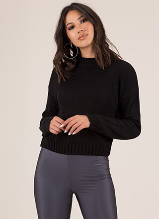 Knits For Days Ribbed Trim Sweater