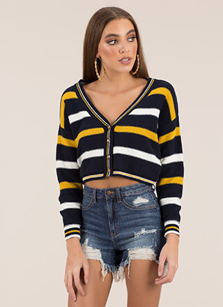 Preppy Chic Striped Cropped Cardigan