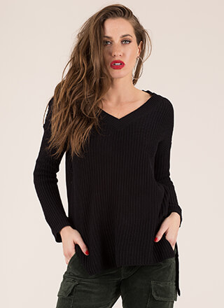 Staying Warm Knit V-Neck Sweater