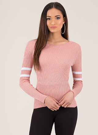Make Varsity Striped Rib Knit Top