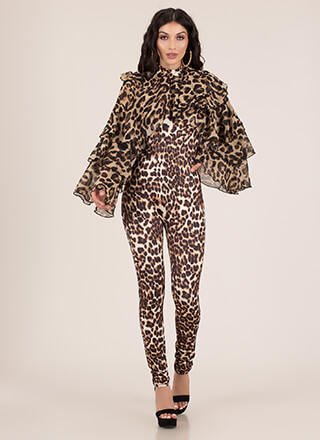 Leopard For Days Ruffle Sleeve Jumpsuit