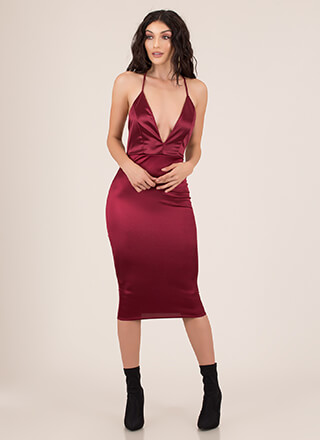 How Low Can You Go Plunging Satin Dress
