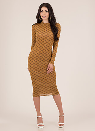 Luxe Be A Lady Patterned Midi Dress