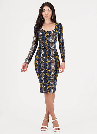 Pretty In Python Snake Print Midi Dress
