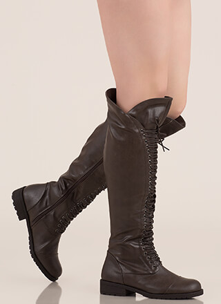 All The Way Lace-Up Thigh-High Boots