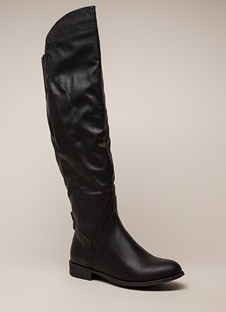 Southwest Perforated Thigh-High Boots