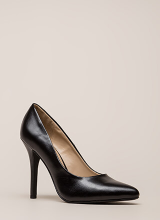 Heel Yeah Pointy Faux Leather Pumps