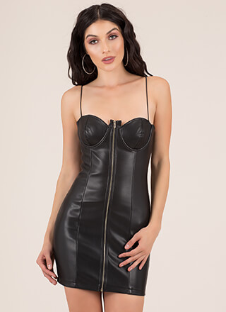 Young And Wild Zip-Up Faux Leather Dress