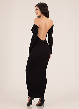 Bae Got Back Off-Shoulder Rib Knit Maxi