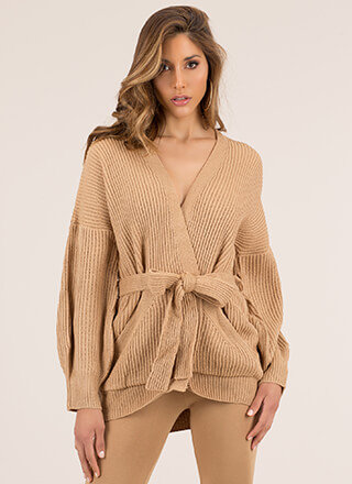 Get Comfortable Tied Knit Cardigan