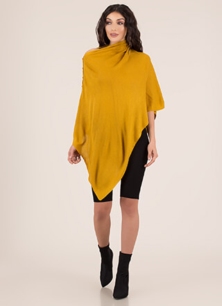 Asymmetrical Chic Knit Poncho Wrap