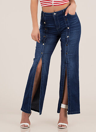 Snap To Attention Split-Leg Denim Pants