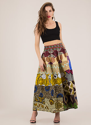 Quilty Verdict Flared Print Maxi Skirt