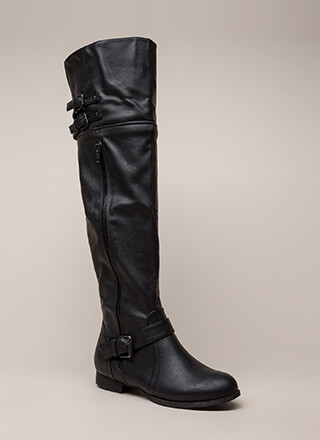Walking Tall Strappy Thigh-High Boots