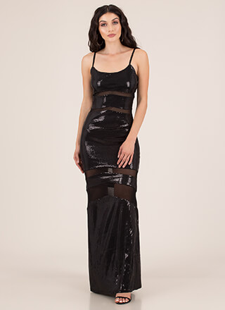 Special Sequins Mesh-Striped Gown