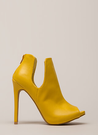 Two Sides Cut-Out Peep-Toe Booties