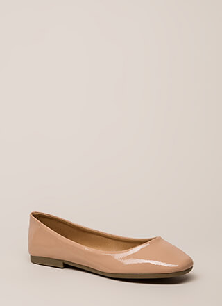 Ground Rules Faux Patent Ballet Flats