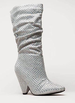 Bling It Shiny Jeweled Cone Heel Boots