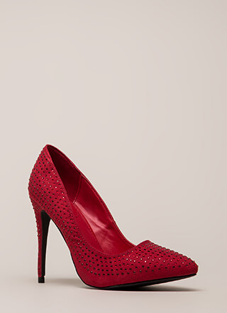 Rock Rhinestones Pointy Faux Suede Pumps