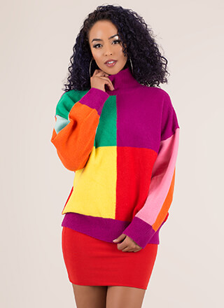 Box Of Tricks Colorblock Knit Sweater