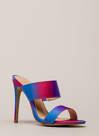 Golden Hour Two-Strap Mule Heels