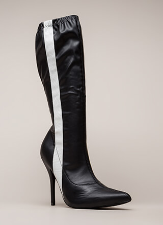 Sporty Stripe Pointy Knee-High Boots