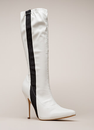 8465f242ff8 Sporty Stripe Pointy Knee-High Boots
