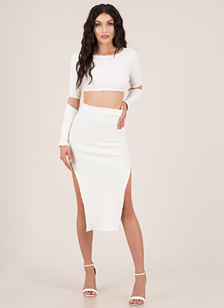 Elbow Your Way Slit 2-Piece Dress