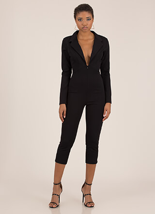 Suit Up Plunging Cropped Blazer Jumpsuit