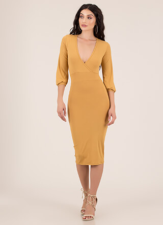 Simply Irresistible Surplice Midi Dress