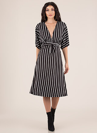 Stripe Showcase Flared Dolman Dress