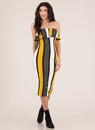 Ruffled Right Striped Strapless Dress