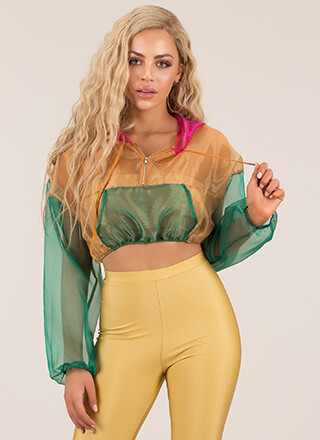 Sheer Up Colorblock Hoodie Crop Top
