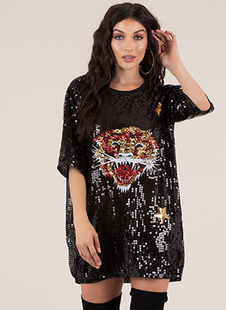 Tiger Tale Sequined Shirtdress