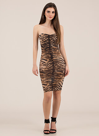 Eye Of The Tiger Sweetheart Tube Dress