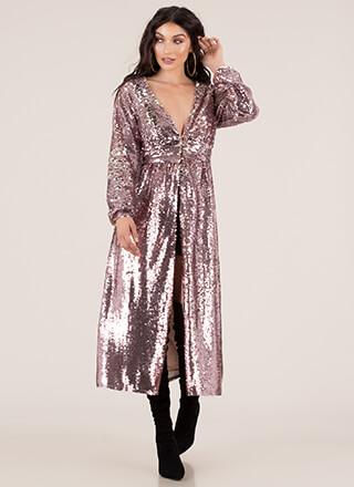 So Much Sparkle Split-Front Sequin Maxi