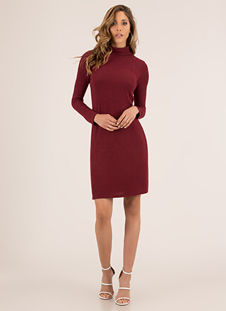 Cozy Chic Knit Turtleneck Sweater Dress