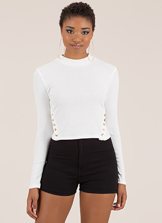 Cute And Casual Snap Button Crop Top