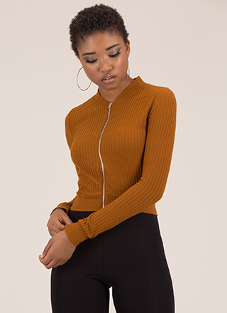 Take It Easy Ribbed Zip-Front Crop Top