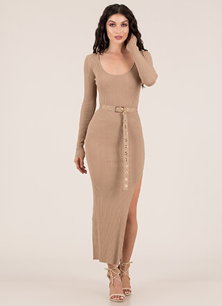 Influencer Belted Rib Knit Maxi Dress